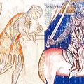 Frühe heraldische Darstellungen: Links Vita des Hlg. Alban (MS E.I.40, ca. 1240); rechts Lambeth-Apokalypse (MS 209, ca. 1260-70)