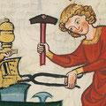 Zangengriffe einer Schmiedezange: Manesse-Handschrift, Süddeutschland/Schweiz (ca. 1300-1340)