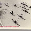 Forellepaddler 1951, in zum Teil selbst gebauten Kajaks (durchsichtiges Deck)