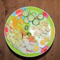 Unser täglicher Obstteller zum Frühstück (davon gibt es natürlich 3 an unserer Tafel)