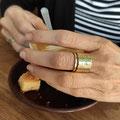 14kt Gouden ring met hamerslag