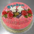 11 : Hochzeitstorte mit rosa Puder, Schwänen und Rosen; Variante 01