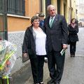 Nelson Jobim accolto all'ingresso del museo da Patrizia Piana