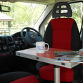 small dinette area in driver cabin