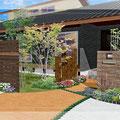 石張り門塀・枕木・カラーコンクリートが素適なデザイン