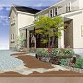 やさしい曲線のカラーコンクリートと石張りのアプローチ