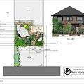 枕木と自然石の乱形石張で造るセミクローズな雑木ガーデンの外構デザイン