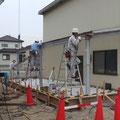 増築スペースの鉄骨工事。