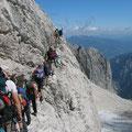 Stau, kurz nach dem Einstieg zum Klettersteig