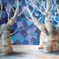 Boab Trees, 60 x 42 cm, Öl auf Holz