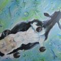 Kuh auf dem Eis, 100 x 70 cm, Öl auf Leinwand
