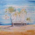 Homestead,  30 x 25 cm Papier, Bleistift, Aquarell, Acryl & Sand auf Leinwand