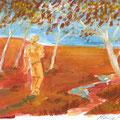 Bushman, 29,7 x 21 cm, Acryl auf Pappe