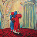 Frauen in Moschee, Öl auf Leinwand,