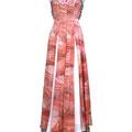薄くて柔らかなピンクの着物生地にグリーンのシフォンを合わせて春らしいドレスに仕上げました。