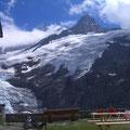 Glecksteinhütte mit Sicht zum Kleinen und Grossen Schreckhorn