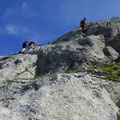 Steile Kletterei in der Rigidalstocksüdwand