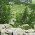 Abstieg auf die einsame Alpe Zaria