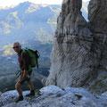 Abstieg über den alpinen Klettersteig