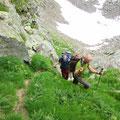 Gegenanstieg via Val di Sassalto - die kritischen Stellen sind mit Drahtseilen gesichert.