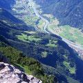 Der Ausgangspunkt Schwandiberg ist vom Gipfel aus sichtbar
