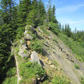 Kraxelstellen am Gipfelgrat zum Sattelstock