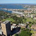 Aussicht vom Sydney Tower über Botanical Garden bis zum Pazifik