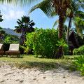 Aussicht vom Strand zum Beach-Chalet