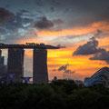 Marina Sands, Supertrees und Flower Dome - von Marina Barrage aus