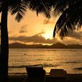 Sonnenuntergang beim Beach-Chalet