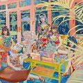 サンルームで   アクリル・綿布・パネル   727×606 / At a Sun Room   Acrylic,cotton and panel