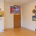 Hanging works by Naomi Okubo The works on the wall and floor by LuLu Meng