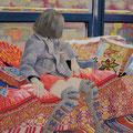 窓辺のソファーの   アクリル・油彩・綿布・パネル   455×606 / The sofa near the window   Acrylic,cotton and panel