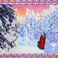 Greeting Card from the Snowing Forest  38.0 x 45.5cm Acrylic on cotton cloth