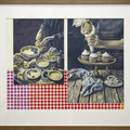 Hands, baking, and pattern of check 41.6×49.5cm (16.37×19.48inches) (Framed) Acrylic and graphite on Paper