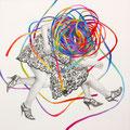 ここだけのひみつに    鉛筆・アクリルガッシュ・ケント紙 290 × 290 / Just Between Us Acrylic,pencil and paper