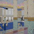 屋内プールの   アクリル・油彩・綿布・パネル   1455×1120