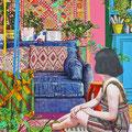 Ethnic Decor living room 50.8×40.6cm Acrylic on Cotton 2018