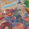 午後にソファーで   アクリル・油彩・綿布・パネル 606×500 / At a sofa in the noon   Acrylic,Oil,cotton and panel