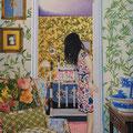リーフパターンの壁紙の部屋と部屋のあいだに   アクリル・油彩・綿布・パネル 380×455 / Between a room and a room of the wall paper of the leaf pattern   Acrylic,Oil,cotton and panel