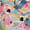 悪い夢の中で  アクリル・綿布・パネル  530 x 455 / In a nightmare, Acrylic,Oil,cotton and panel