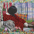 Window Display- Red Riding Hood Acrylic on Cotton 50.8×40.6cm (20×16in)