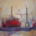 Dockland: Acryl auf Leinwand, 100 x 130 cm