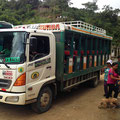 Rancheros, die lokalen Busse mit harten Holzbänken, sind billig.
