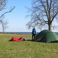 Und wieder sind wir die ersten (inoffiziellen) Camper.