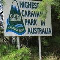 Wir übernachten auf dem höchstgelegenen Zeltplatz Australiens.