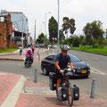 Radwege auch in Bogota. 17 Kilometer Auf und Ab bis in die Stadtmitte.