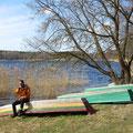 Glacepause am See in Trakai.