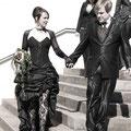 Extravagantes Hochzeitskleid Vokuhila