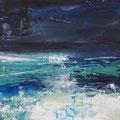 Blue in Green 1, 25x25 cm, acrylic on canvasboard, framed